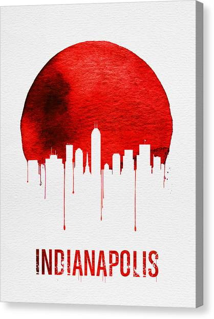 Indianapolis Canvas Print - Indianapolis Skyline Red by Naxart Studio