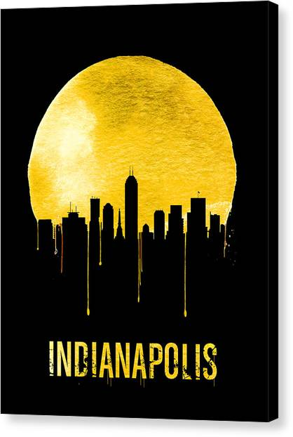 Indiana Canvas Print - Indianapolis Skyline Yellow by Naxart Studio