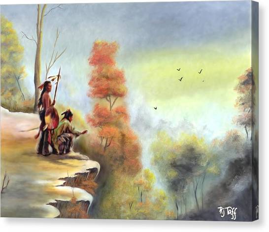 Indians On The Bluff Canvas Print
