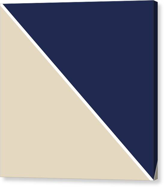 Beach Canvas Print - Indigo And Sand Geometric by Linda Woods