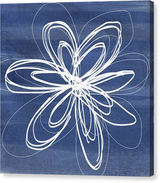 Simple Canvas Print - Indigo And White Flower- Art By Linda Woods by Linda Woods