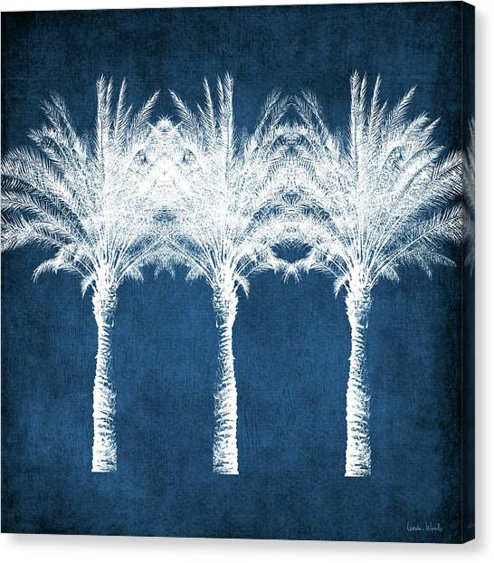 Beach Resort Canvas Print - Indigo And White Palm Trees- Art By Linda Woods by Linda Woods