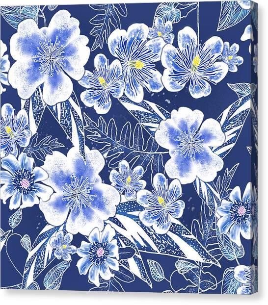 Indigo Batik Tile 1 - Camellia Canvas Print