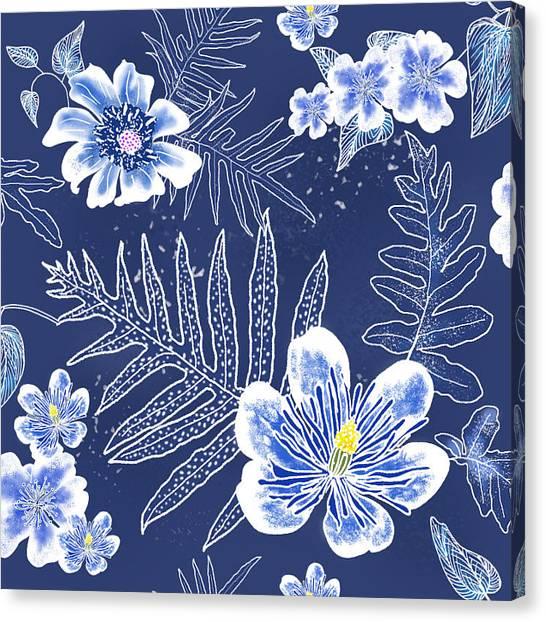 Indigo Batik Tile 3 - Laua'e Canvas Print