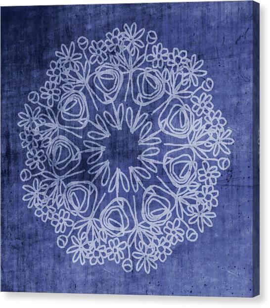Mandala Canvas Print - Indigo Mandala 1- Art By Linda Woods by Linda Woods
