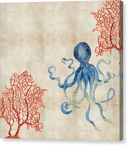 Octopus Canvas Print - Indigo Ocean - Octopus Floating Amid Red Fan Coral by Audrey Jeanne Roberts