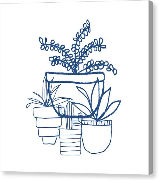 Succulent Canvas Print - Indigo Potted Succulents- Art By Linda Woods by Linda Woods