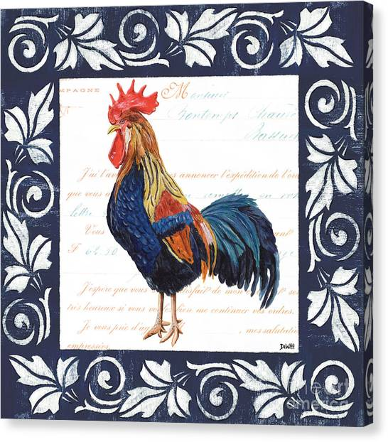 Domestic Canvas Print - Indigo Rooster 2 by Debbie DeWitt