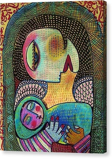 Indigo Tapestry Angel Mother And Child Canvas Print