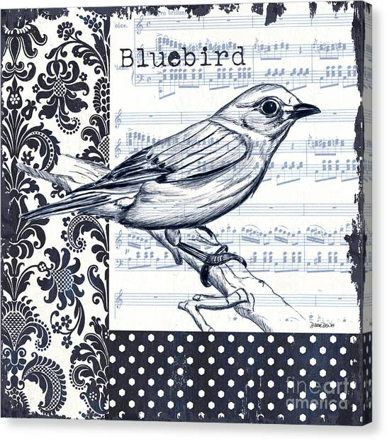 Bird Canvas Print - Indigo Vintage Songbird 1 by Debbie DeWitt