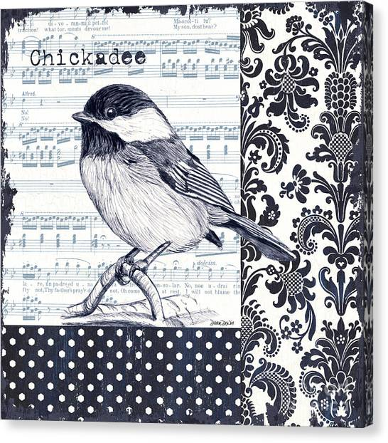Chickadee Canvas Print - Indigo Vintage Songbird 2 by Debbie DeWitt