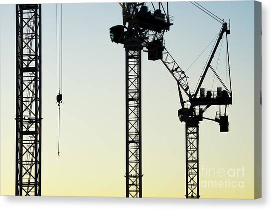 Jibbing Canvas Print - Industrial Cranes Abstract by Tim Gainey