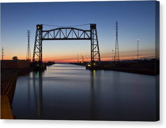 Industrial River Scene At Dawn Canvas Print