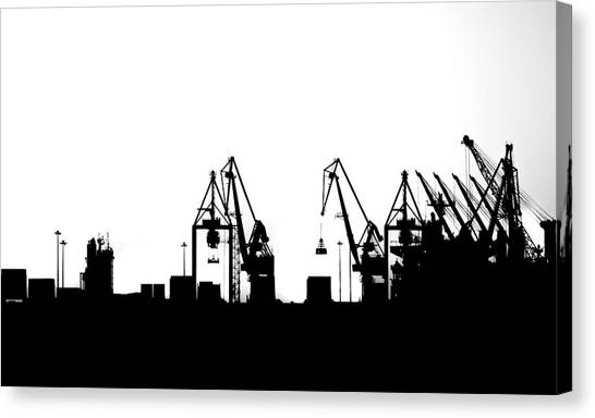 Canvas Print featuring the photograph Industrial Silhouette In Bw by Nikos Stavrakas