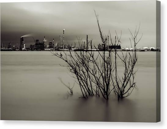 Industry On The Mississippi River, In Monochrome Canvas Print