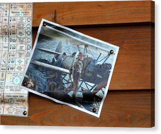 Raiders Of The Lost Ark Canvas Print - Indy And Jock At The Hangar Bar by David Lee Thompson