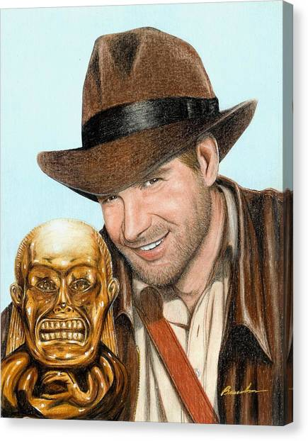 Raiders Of The Lost Ark Canvas Print - Indy by Bruce Lennon