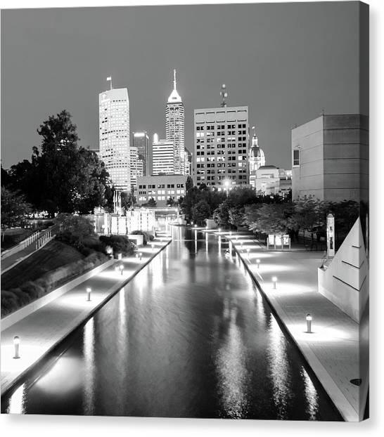 Indy City Skyline - Indianapolis Indiana Black-white 1x1 Canvas Print