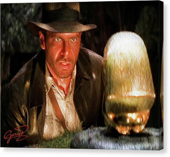 Raiders Of The Lost Ark Canvas Print - Indy Discovers The Golden Idol by Ed Garcia