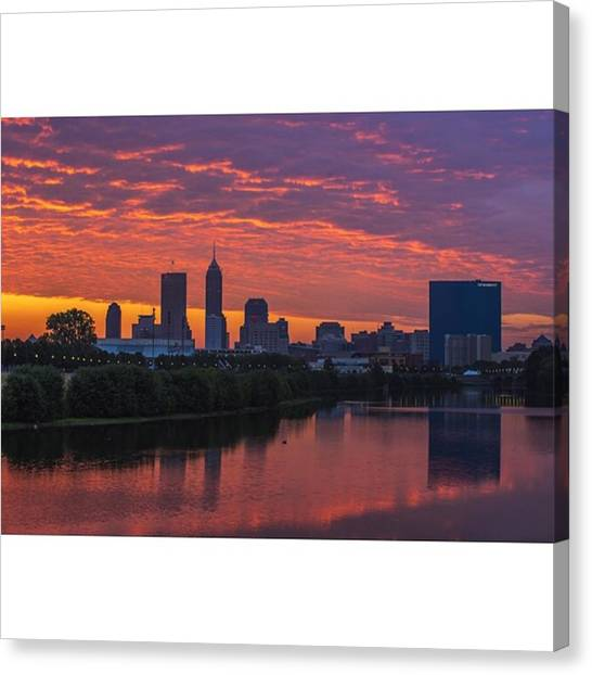 Skyscrapers Canvas Print - #indy #indiana #indianapolis by David Haskett II
