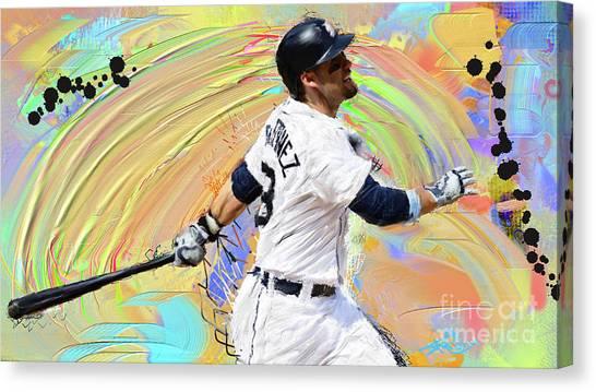 Detroit Tigers Canvas Print - J.d. Martinez by Donald Pavlica