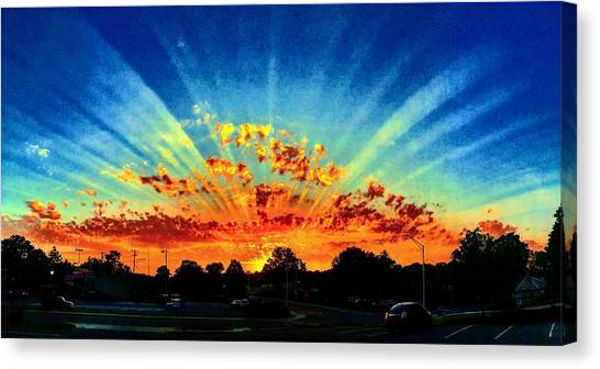 Infinite Rays From An Otherworldly Sunset Canvas Print