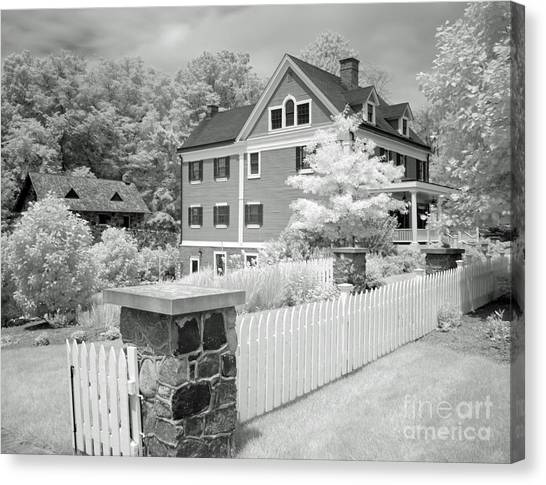 Smokehouses Canvas Print - Infra Structure B W by Steve  Gass