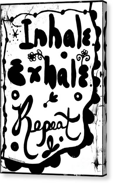 Canvas Print featuring the drawing Inhale Exhale Repeat by Rachel Maynard
