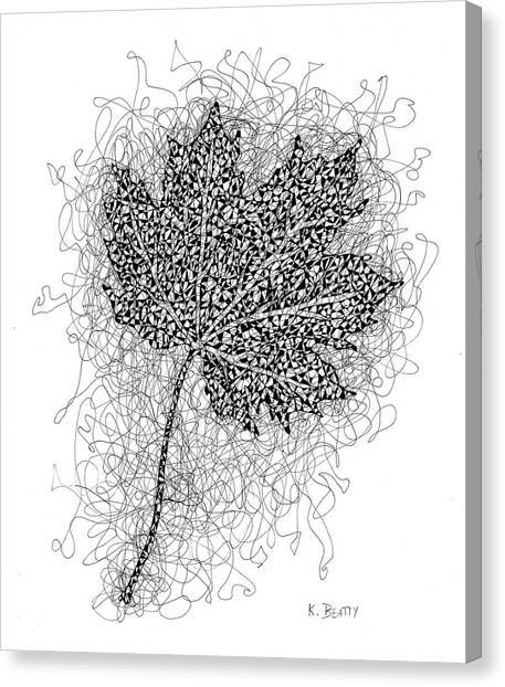 Ink Drawing Of Maple Leaf Canvas Print