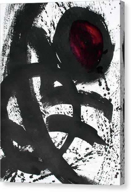 Ink On Paper Rose #2 Vertical Ink Landscape Original Fine Art Ink On Paper Canvas Print