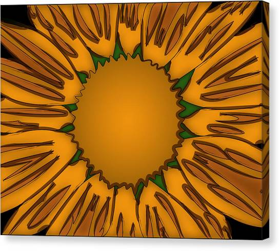 Ink Sunflower Canvas Print by Christopher Sprinkle