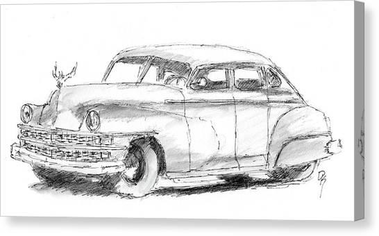 Classic Car Drawings Canvas Print - Inktober 2017 No 7 by David King