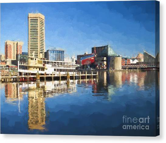 Inner Harbor Reflections  Canvas Print