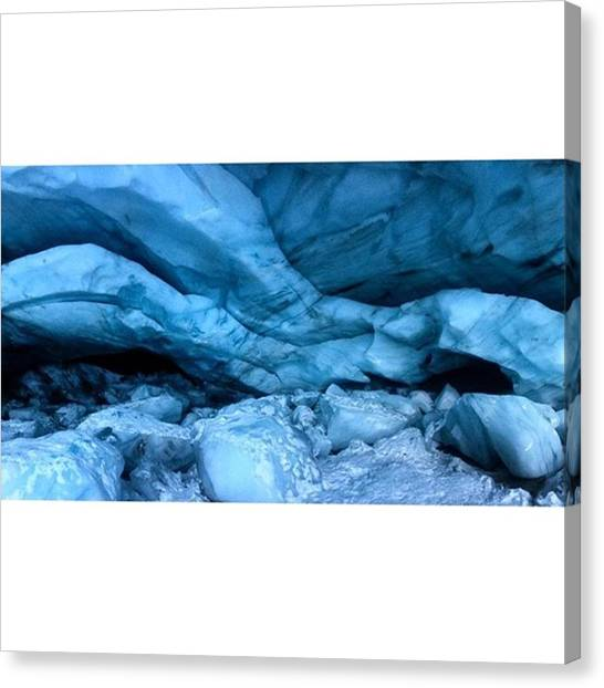 Ice Caves Canvas Print - Inside A Glaciercave On Blackcomb by Outdoor Explorers