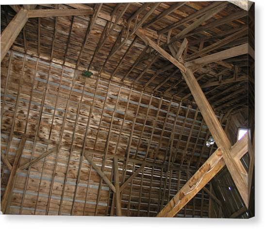 Inside Of The Barn Canvas Print by Janis Beauchamp