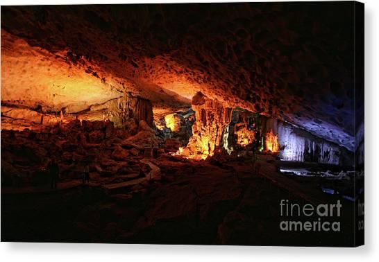 Limestone Caves Canvas Print - Inside Sung Slot Cave Vietnam  by Chuck Kuhn