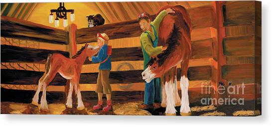 Inside The Barn Canvas Print