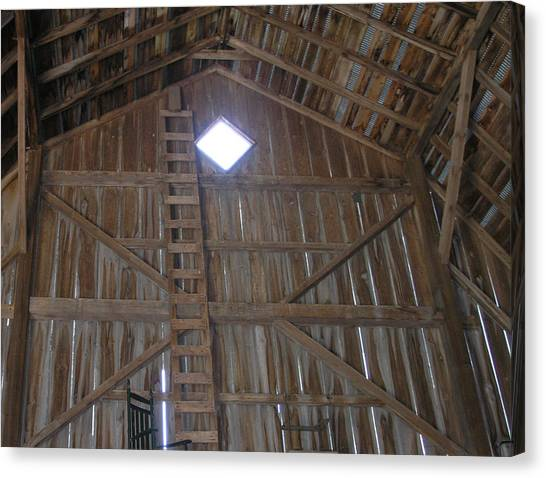 Inside The Barn Canvas Print by Janis Beauchamp