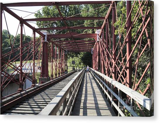 Inside The Bollman Truss Bridge At Savage Maryland Canvas Print