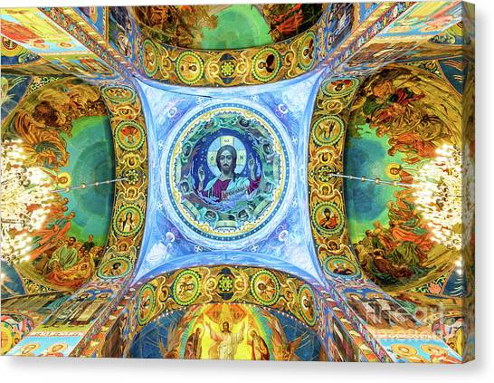 Orthodox Art Canvas Print - Inside The Church Of The Savior On Spilled Blood by Delphimages Photo Creations