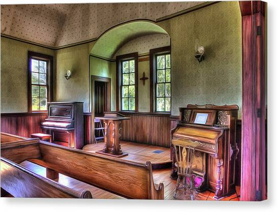 Inside The Oysterville Church  Canvas Print