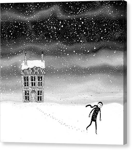 Boy Canvas Print - Inside The Snow Globe  by Andrew Hitchen