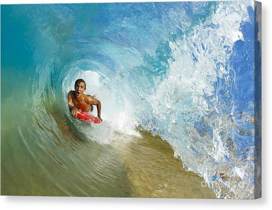 Bodyboard Canvas Print - Inside Wave Tube by MakenaStockMedia - Printscapes