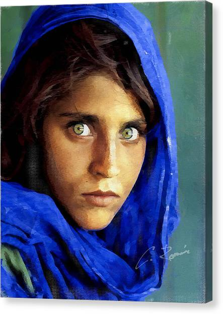Inspired By Steve Mccurry's Afghan Girl Canvas Print