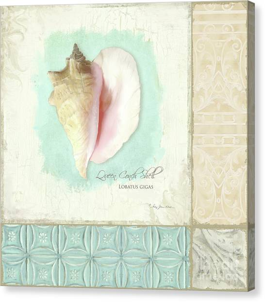 Conch Shells Canvas Print - Inspired Coast Collage - Queen Conch Shell Tile Patterns by Audrey Jeanne Roberts