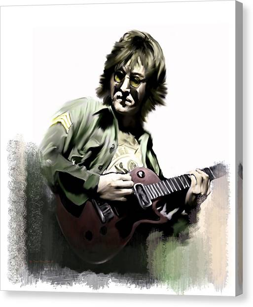 John Lennon Lithographs Canvas Print - Instant Karma  John Lennon by Iconic Images Art Gallery David Pucciarelli
