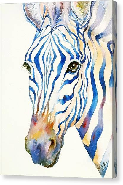 Zebras Canvas Print - Intense Blue Zebra by Arti Chauhan