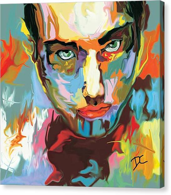 Canvas Print featuring the digital art Intense Face 2 by Darren Cannell