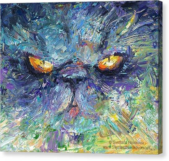 Persians Canvas Print - Intense Palette Knife  Persian Cat by Svetlana Novikova