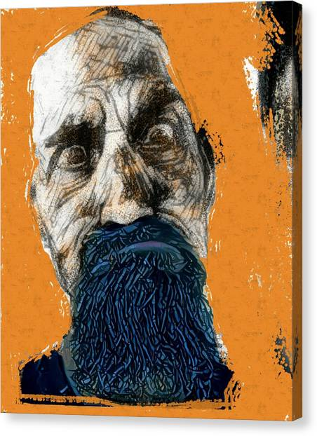 Intense Portrait Bulging Eyes Blue Beard Orange And Sketch Painting Vibrant Vivid Expression Beast Friendly Canvas Print by MendyZ